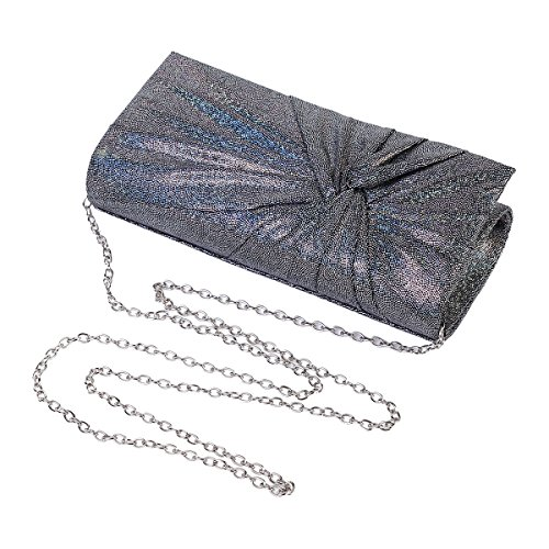 Shining Pleated Womens Silver Evening Bag Embellished Party Damara Clutch Op4wwx