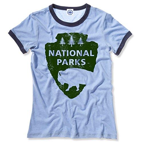 (Hank Player U.S.A. National Parks Women's Ringer T-Shirt (M, Heather Blue))