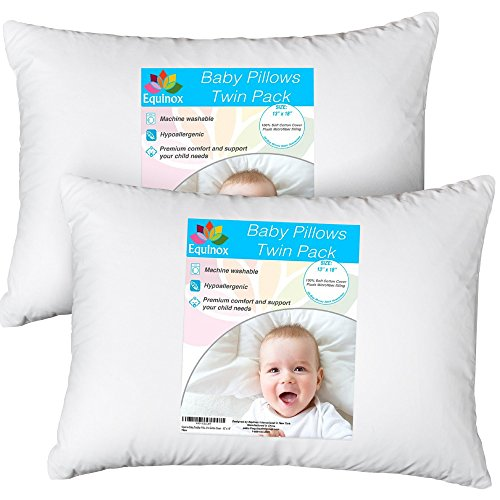 "[2-Pack] Equinox Baby Toddler Pillow Set - 13"" x 18"" Toddler Bedding Small Pillow - Baby Pillow with 100% Cotton Cover from Equinox International"
