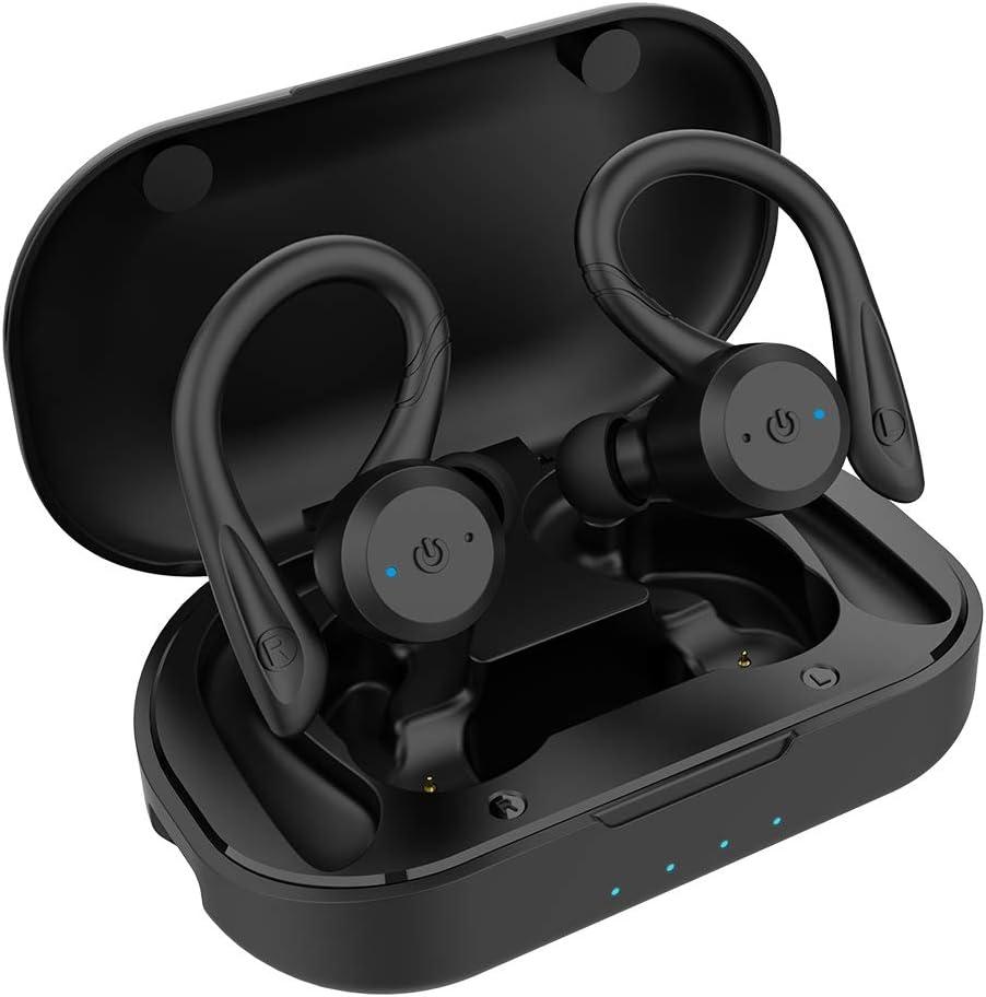 APEKX Bluetooth Headphones True Wireless Earbuds with Charging Case IPX7 Waterproof TWS Stereo Sound Earphones Built-in Mic in-Ear Headsets Deep Bass for Sport Running Black