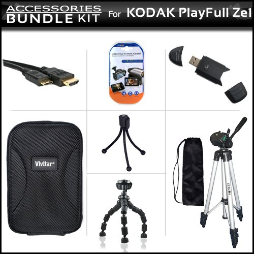 Accessories Bundle Kit For Kodak PlayFull Ze1 HD Video Camera (New Model) Includes Micro HDMI Cable + 50'' Tripod + USB 2.0 High Speed Card Reader + Hard Case + LCD Screen Protectors + Gripster Flexible Tripod + MicroFiber Cleaning Cloth + Mini Tripod by ButterflyPhoto