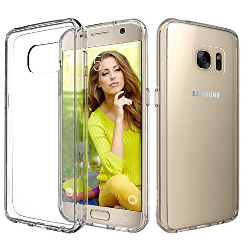 Rubber Cell Phone Covers (Galaxy S7 Case, TOTU Ultra Crystal Clear Cushion Slim Fit Scratch Resistant Protective Case Cover with Hybrid Transparent Back and Shock Absorption TPU Rubber Bumper for Samsung Galaxy S7 -)