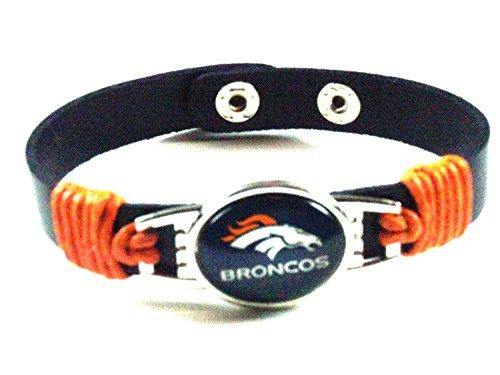 - Genuine Leather Adjustable Wristband Bracelet 12mm Snap Closure Team Charm & Waxed Cord --- DENVER BRONCOS