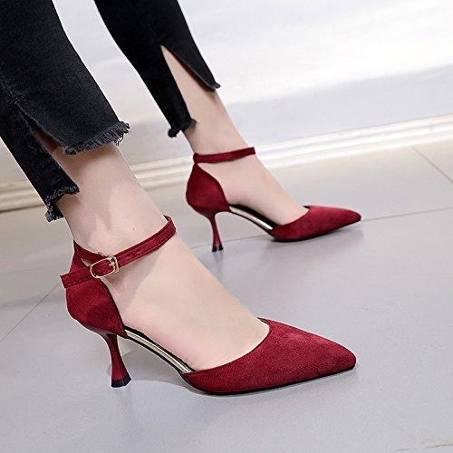Xue Qiqi Ranurados para el solo zapatos finos femeninos con salvajes, los zapatos de tacón alto Vino rojo