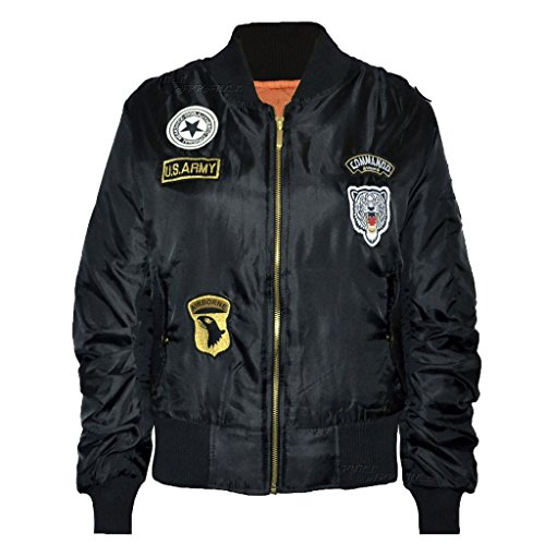 Ladies Womens US ejército Militar insignias Bomber perchero de pared de chaqueta biker UK 6 –�?2 negro