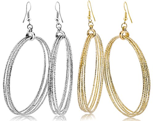 Hoop Earrings Set For Women Men Silver Gold Gunmetal Grey Tone Plate Round Fashion Jewelry 3 Pairs (GL8: 2 Tones - Dangle Hoop)