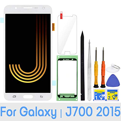 LCD Screen Replacement for Samsung Galaxy J7 2015 J700 J700T J700F J700H J700M SM-J700 LCD Touch Screen Digitizer Glass Display Assembly with Repair Tools and Adhesive (White)