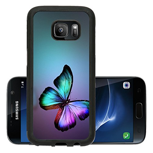 Luxlady Premium Samsung Galaxy S7 Aluminum Backplate Bumper Snap Case IMAGE ID: 34551772 Dark green gold violet butterfly morpho isolated on background
