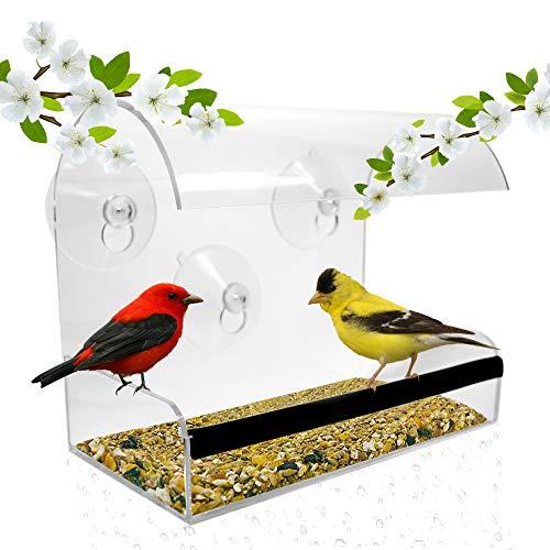 Bird Feeders For Outside - Acrylic Bird Feeder Window - Wild Bird Feeder - Modern Bird Feeder With See Through Bird Feeder – Best Gifts For Bird Lovers Women and Elderly Mother ()