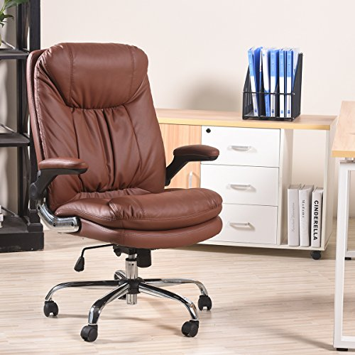 YAMASORO Ergonomic High-Back Black Executive PU Leather Office Chair with Flip-Up Arms, Swivel, Big and Tall BROWN