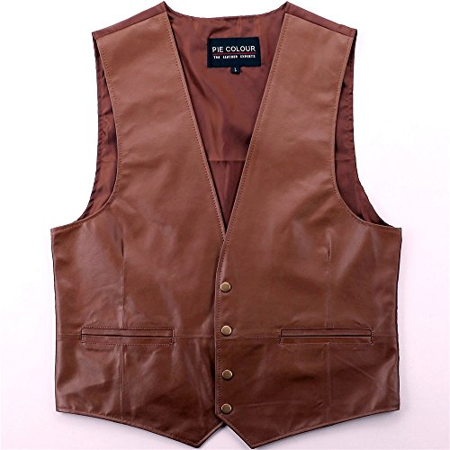 leather Vest Classic Western Cowboy mens Motorcycle Environmental protection new (XL, Brown) (Leather Western Vest)