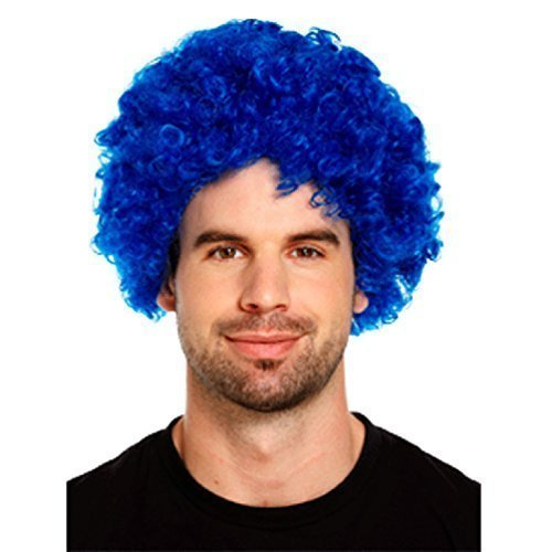 Payaso Joker peluca disfraz Outfit accesorio, color azul