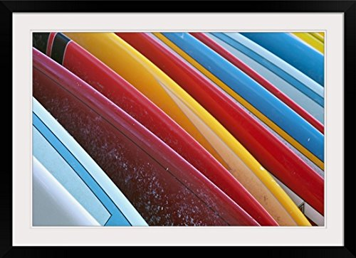 GreatBIGCanvas ''Coloured Surfboards Lined up, Honolulu, Oahu, Hawaii'' by Brandon Tabiolo Photographic Print with black Frame, 36'' X 24'''' by greatBIGcanvas