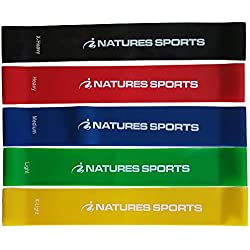 Natures Sports Premium Resistance Loop Bands (set of 5) Exercise Band Set for Workouts, Resistance Training & Physical Therapy Routines.
