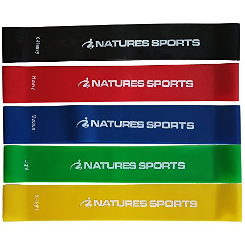 Natures Sports Premium Resistance Loop Bands (set of 5) Exercise Band Set...