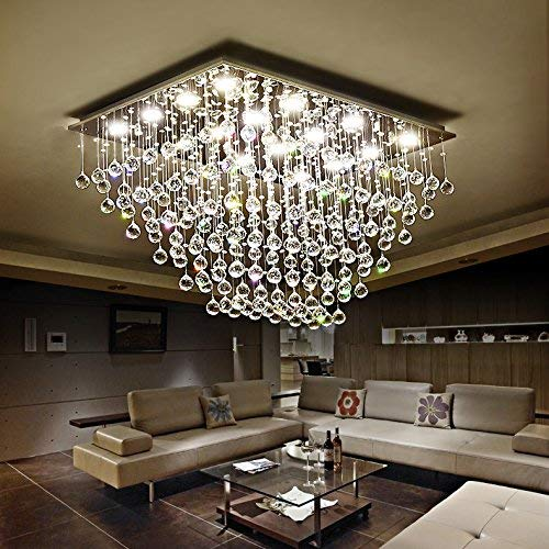 Saint Mossi Modern K9 Crystal Raindrop Chandelier Lighting Flush Mount LED Ceiling Light Fixture Pendant Lamp for Dining Room Bathroom Bedroom Livingroom 12 GU10 Bulbs Required H 16 x W 22 x L 31 in