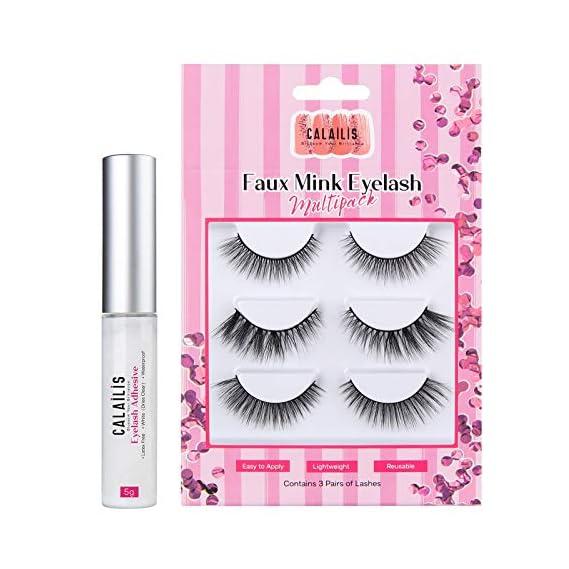 CALAILIS 3 Pairs False Eyelash| 3D Faux Mink Fake Eyelash| Lightweight| Reusable| Easy to Apply| 100% Handmade| Cruelty