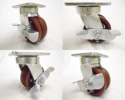 4-X-2-Swivel-Caster-Kingpinless-78-V-groove-Ductile-Steel-Wheel-with-Brake-1500-Lbs-Each-4