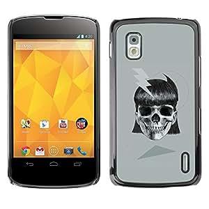 """For LG Nexus 4 E960 Case , Chica Negro Gris Cráneo Negro Peligro"""" - Diseño Patrón Teléfono Caso Cubierta Case Bumper Duro Protección Case Cover Funda"""