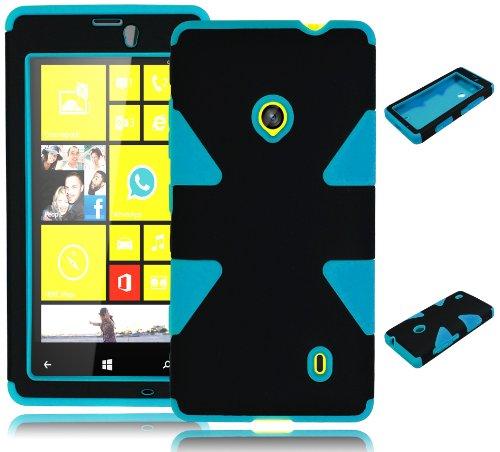 Bastex Heavy Duty Hybrid Dynamic Case for Nokia Lumia 521 - Sky Blue Silicone/Black Hard Shell (Cute Cases For Nokia Lumia)