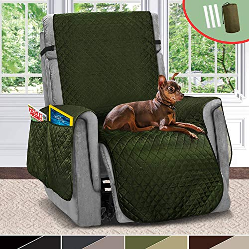 Vailge Quilted Reversible Oversized Recliner Cover,Furniture Protector with Organize Pockets,Water Repellent Recliner Slipcovers,Machine Washable Recliner Chair Cover for Dogs,Kids(Bottle Green/Beige)