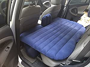 FBSport Car Travel Inflatable Mattress Air Bed Cushion Camping Universal SUV Car Extended Air Couch with Two Air Pillows (Blue-new)