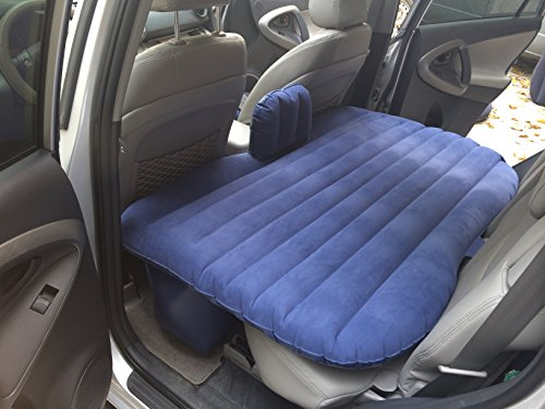 FBSPORT Car Travel Inflatable Mattress Air Bed Cushion Camping Universal SUV Extended Air Couch with Two Air Pillows (Blue)