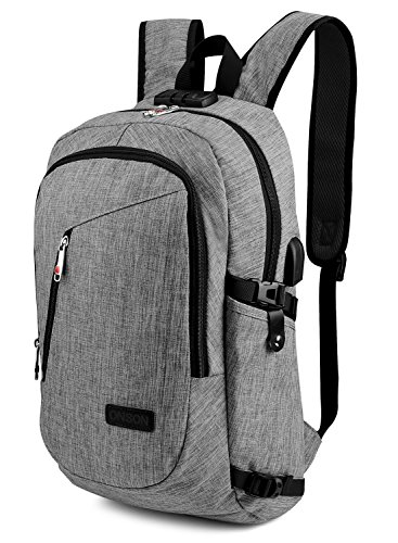 ONSON Anti Theft Laptop Backpack, Business Water Resistant Backpack Travel Bag with USB Charging Port & Headphone interface for Men&Women College Student,Fits 15.6 Inch Laptop & Notebook - Grey - Small School Backpack
