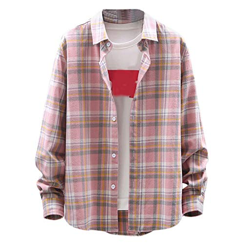 Multi-Style Overcoat Sales NRUTUP Men's Casual Fashion Business Plaid Printing Loose Long Sleeve Shirt Tops Blouse