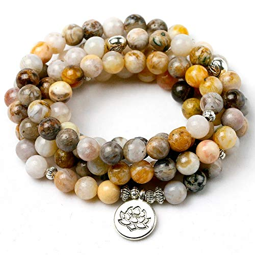 Zozu 8MM Bamboo leaves Onyx Natural Stone Mala 108 Prayer Beads Necklace Bracelet Men Women Buddhist OM Charm Bracelet Yoga Jewelry