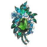 EVER FAITH Women's Rhinestone Crystal Vintage Style Flower Teardrop Brooch Pendant Green Gold-Tone