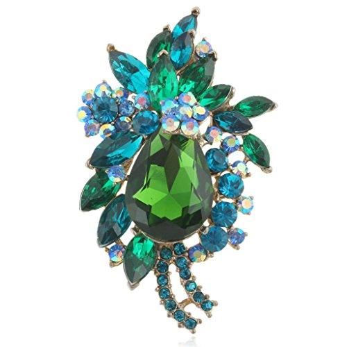EVER FAITH Women's Rhinestone Crystal Vintage Style Flower Teardrop Brooch Pendant Green Gold-Tone by EVER FAITH