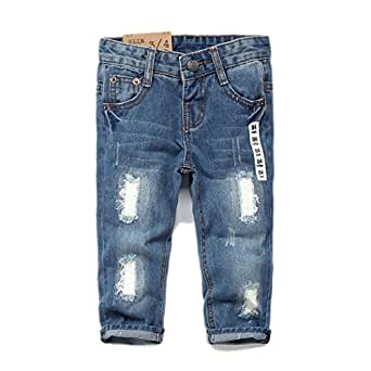 KidsCool Baby & Toddler Ripped Holes Slim Soft Jeans,Blue,6-12 Months