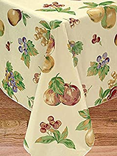 Apple Delicious Flannel Backed Vinyl Tablecloth, 60 Inch Round