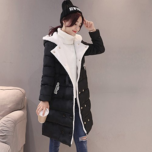 Xuanku College Wind Cotton Women In The Long Section Of Winter Jacket High School Girls Warm Feather Cotton Black