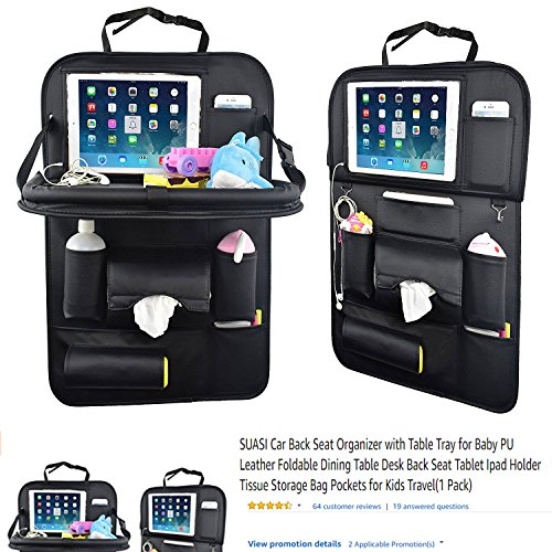 SUASI Car Back Seat Organizer with Table Tray for Baby PU Leather Foldable Dining Table Desk Back Seat Tablet Ipad Holder Tissue Storage Bag Pockets for Kids Travel(1 ()