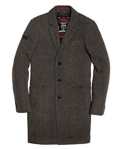 Superdry Mens New Camden Crombie Coat Grey Donegal L (Superdry Mens Leather Jacket)