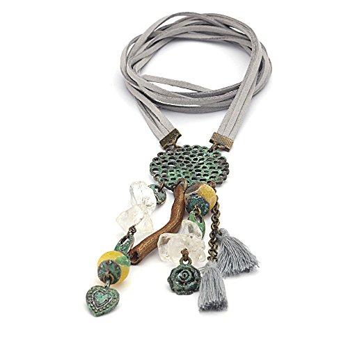 587b0b93fb03 Collar largo estilo boho con borlas y gemas de ágata amarilla y metal con  patina verde de 70 cm (27.5