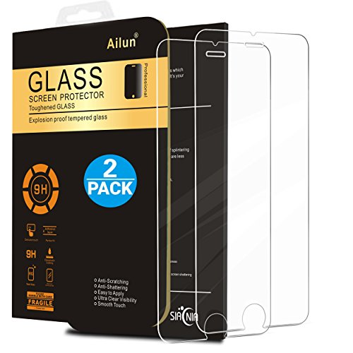 AILUN Screen Protector for iPhone 6s, iPhone 6, [2 Pack],Tempered Glass,2.5D Edge,Scratch-Proof,Case Friendly,Siania Retail Package