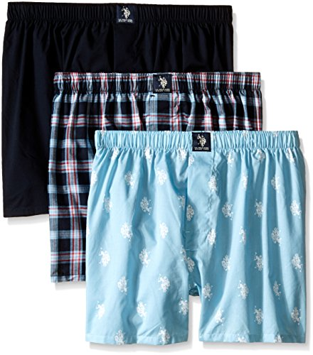 U.S. Polo Assn. Men's 3-Pack Woven Boxer, Navy/Navy Plaid/Light Blue, - Navy Boxers Plaid