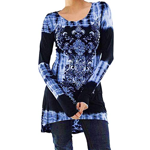 Trendinao Women's Casual Long Sleeve Blouse O Neck Tops Digital Printed Shirt (Blue,X-Large) (Baby Thermal Long Sleeve Henley Army Green)
