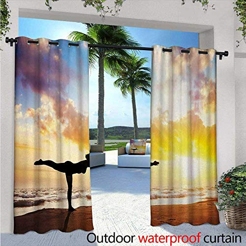 - Yoga Outdoor- Free Standing Outdoor Privacy Curtain W96 x L108 Warrior Pose by Woman in Silhouette with Majestic Sunset Sky Virabhadrasana Practice for Front Porch Covered Patio Gazebo Dock Beach H