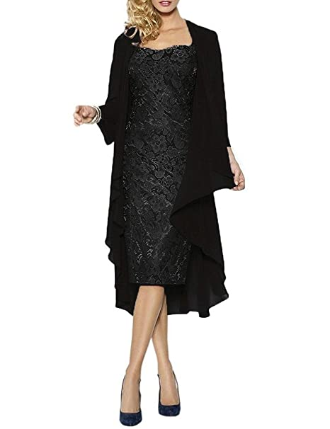 489cb38a431 APXPF Women s Lace Mother of The Groom Dresses Tea Length with Jacket Black  US2