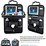 SUASI Car Back Seat Organizer with Table Tray for Baby PU Leather Foldable Dining Table Desk Back Seat Tablet Ipad Holder Tissue Storage Bag Pockets for Kids Travel(1 Pack)