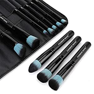 Makeup Brushes Set- Professional 10Pcs Premium Kabuki Essential Makeup Brushes with Case Prime Cosmetics Tools for Face Eye Cut Travel Makeup Bag Included (Green)