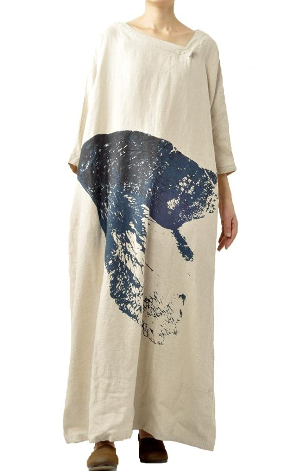 Mordenmiss Women\'s Cotton Linen Clothing Maxi Dresses at Amazon ...