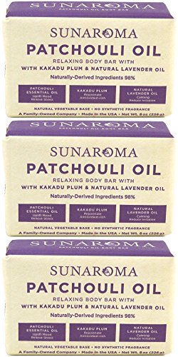 Sunaroma Patchouli Oil & Lavender Body Bar Soap, 8 Ounce (Pack of 3)