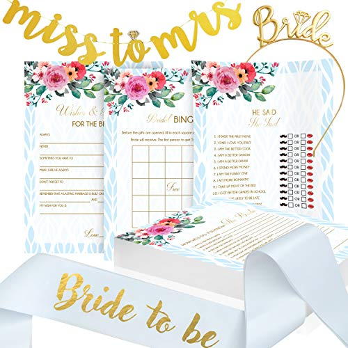 Bridal Shower Games Bundle I 4 Games x 50 Each I Bonus Banner, Sash, Tiara All Included. Perfect for Wedding Shower and Bridal Shower Party.