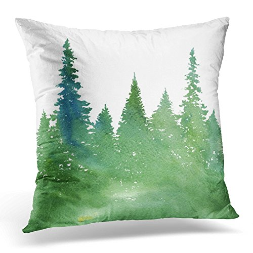 (UPOOS Throw Pillow Cover Green Pine Watercolor Landscape with Fir Trees and Grass Abstract Nature Coniferous Forest Garden Decorative Pillow Case Home Decor Square 16x16 Inches Pillowcase)
