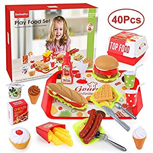 BeebeeRun Play Food Toys, Pretend Play Kitchen Set, Hamburger French Fries Variety Toys Gift for Kid ,Toddlers Pretend…